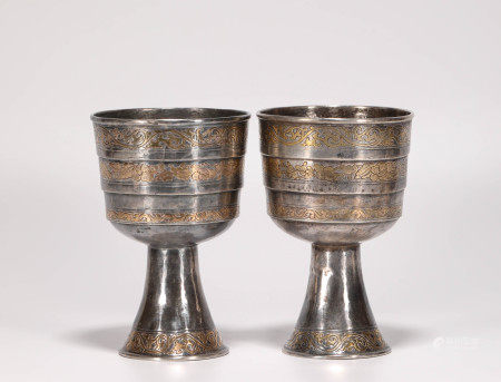 a pair of silver and gilding wine cups from Song 宋代銀鎏金酒杯一對