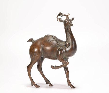 Copper deer shape ornament from Qing 清代銅質鹿首擺件