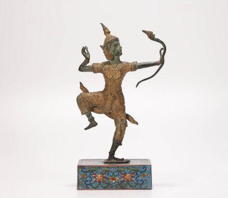 copper and cloisonne Garo sculpture 清代銅胎景泰藍伽羅像
