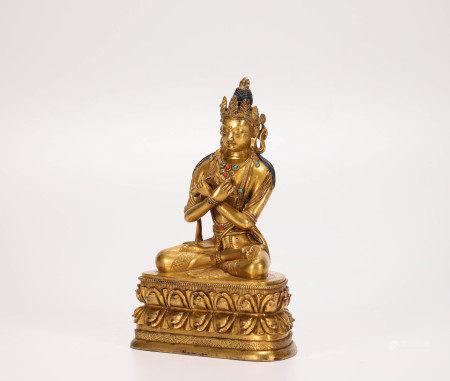 Copper and gilding tara sculpture from Qing 清代銅鎏金度母像