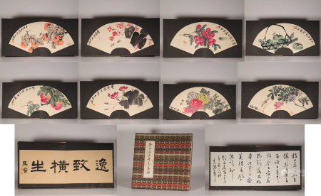 Ink flower painting album by Baishi Qi from ancient China 中國水墨花卉畫 齊白石 紙本册頁