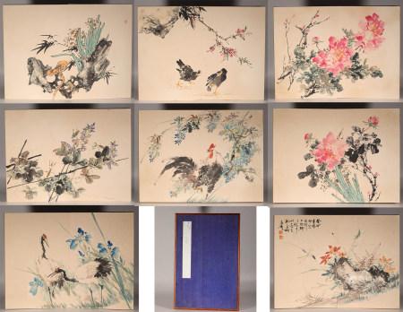 Ink flower painting album by Xuetao Wang from ancient China 中國水墨花卉畫 王雪濤 紙本册頁