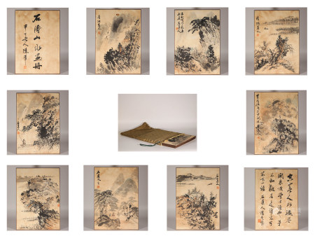 Ink flower painting album by Tao Shi from ancient China 中國水墨山水畫 石濤 紙本册頁