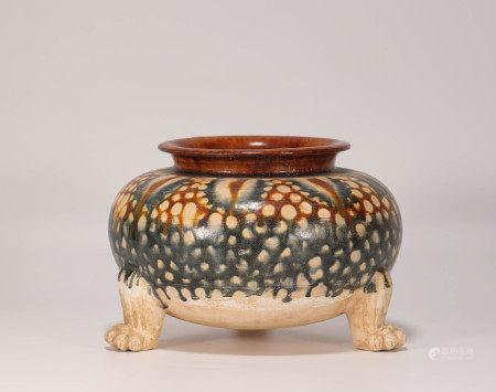 Tri-colour glazed pot wit three feet from Tang 唐代三彩三足罐