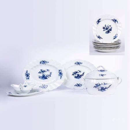A VARIED LOT OF 18TH-CENTURY SOFT TOURNAI PORCELAIN WITH DECORATION IN BLUE CAMAÏEU OF WILD FLOWERS