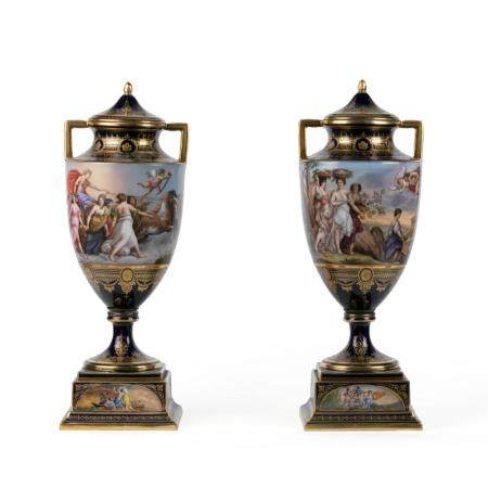A PAIR OF VIENNESE PORCELAIN VASES AND COVERS. VIENNA, FRANZ DÖRFL COMPANY, 1878-1930. PAINTED WITH