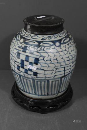 Pot ‡ gingembre en porcelaine de Chine bleue (HT.22cm)