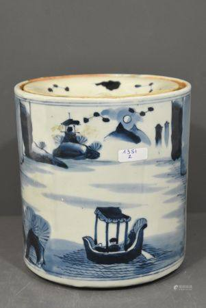 Pot ‡ pinceaux chinois  couvert (Ht 16,5cm)