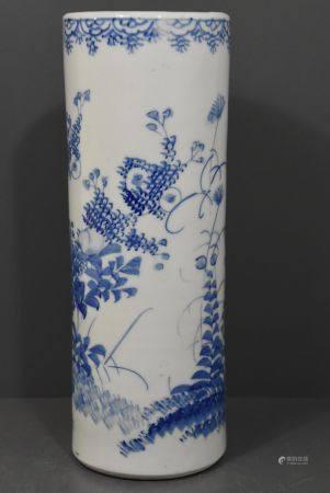 Vase rouleau bleu blanc japonais (Ht 31cm)