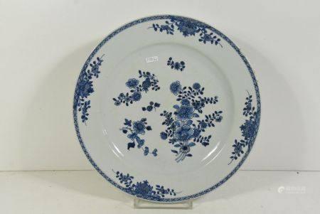 Grand plat chinois 18Ëme (petit manque et cheveux) ÿ 38cm