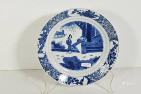 Assiette en porcelaine de Chine, marque et Èpoque Kangxi (diam.21cm)