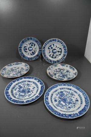 Lot de 6 assiettes en porcelaine de Chine bleues (2 assiettes avec cheveux)