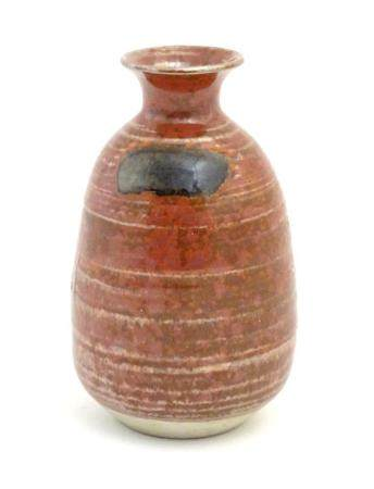 """A Japanese studio pottery vase with a flared rim. Impressed character marks under. Approx. 5 3/4"""" hi"""