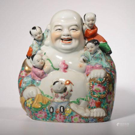 A FAMILLE ROSE PORCELAIN MAITREYA BUDDHA