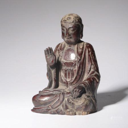 A WOOD LACQUER WORK SHAKYAMUNI BUDDHA STATUE