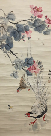 A CHINESE FLOWERS PAINTING SCROLL WANG XUETAO MARK