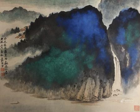A CHINESE LANDSCAPE PAINTING ZHANG DAQIAN MARK