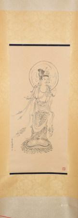 A CHINESE LINE DRAWING BUDDHA PAINTING SCROLL PU RU MARK