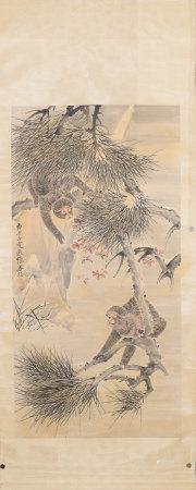 A CHINESE MONKEYS PAINTING SCROLL ZHANG SHANZI MARK