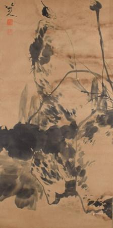 A CHINESE FLOWER&BIRD PAINTING SCROLL BA DA SHANREN MARK