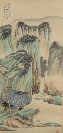 A CHINESE LANDSCAPE PAINTING SCROLL CHEN SHAOMEI MARK