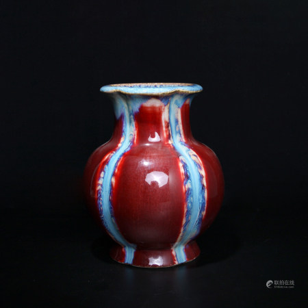 清乾隆 窯變釉瓜棱瓶