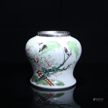 清 粉彩花鳥圖瓶
