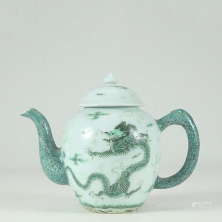 清 粉彩綠龍茶壺