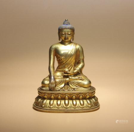 明 銅鎏金釋迦牟尼佛托缽像