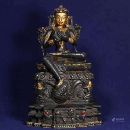 老藏傳鎏金嵌百寶黑石度母像