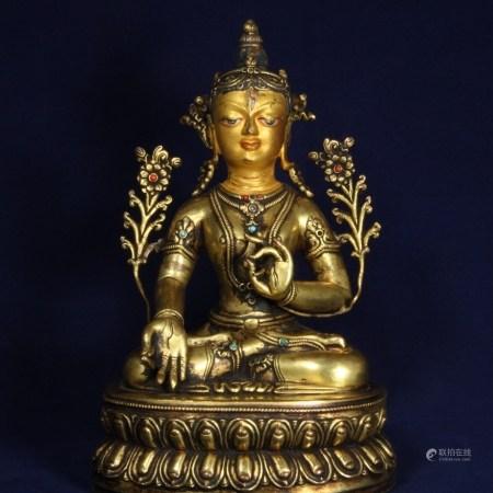 藏傳銅鎏金綠度母說法像