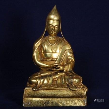 銅鎏金宗喀巴上師像