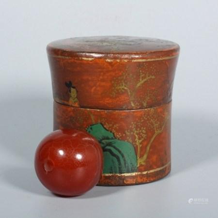 清 柿子紅老瑪瑙佛珠(描金老漆盒)