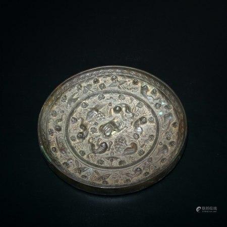 唐 海獸葡萄紋銅鏡