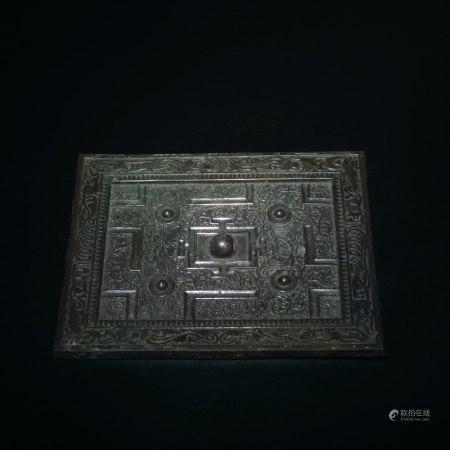 明 獸紋細雕方銅鏡