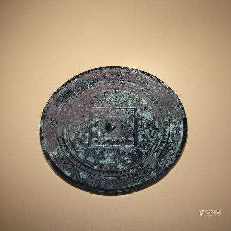 漢 黑漆萬象紋銅鏡