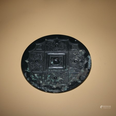 漢 黑漆飛龍紋銅鏡