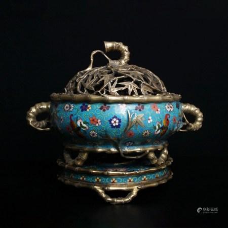 銅鎏金百花紋琺瑯香爐