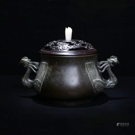 清 白玉鈕鸞鳳和鳴銅爐(玉堂清玩)