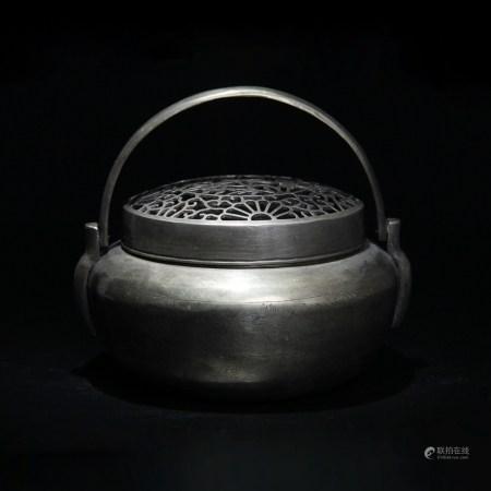 清 薄意雕山水紋銅熏爐