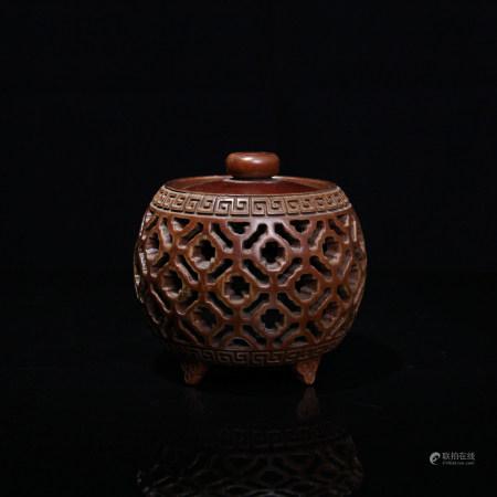 清 黃楊木鏤雕香爐
