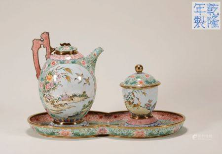 "Qing ""Qianlong"" Era Bronze and Famille Rose Tea Set"