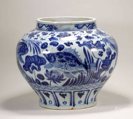 Yuan Dynasty - Large Blue and White Porcelain Jar