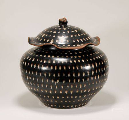 Yuan Dynasty - Patterned Black Glaze Jar
