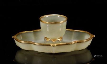 Qing Dynasty-Set of Hetian Jade Wrap Silver Gilt Cup