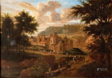 Ecole FLAMANDE vers 1750  - Promeneurs devant un château   - Toile    - 41,5 x 60 cm -