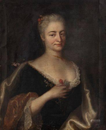 Ecole ITALIENNE vers 1740   - Portrait de jeune femme tenant une fleur   - Sur sa [...]