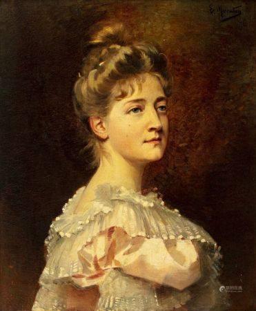 Euphémie MURATON (Beaugency 1840 - 1914)  - Portrait de jeune femme  - Sur sa toile [...]