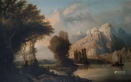 Ecole SUISSE du XIXème siècle  - Lac de montagne  - Panneau  - 29,5 x 46 cm -