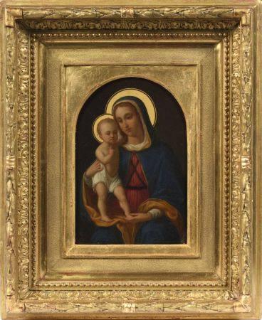 Ecole ALLEMANDE vers 1870  - Vierge à l'enfant  - Panneau  - 22,5 x 16 cm   - [...]